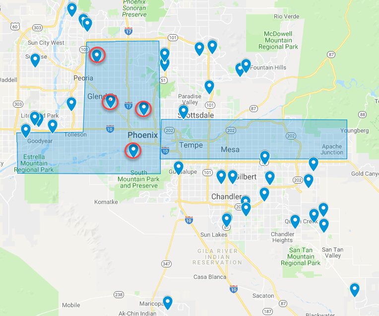 New Charter Schools 2008-2018 Phoenix area BASIS GH ALA Legacy (Hall)